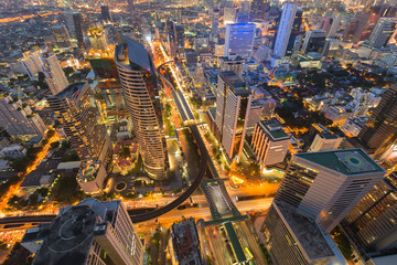 Arial view city downtown with train station interchanged, night lights view