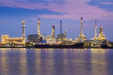 Twilight riverfront over Oil refinery, Bangkok Thailand