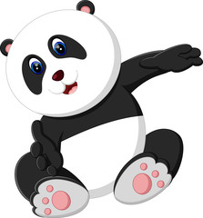 illustration of cute baby panda cartoon