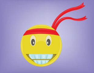 Emoticon with Big Smile. Smiley Face in Red Bandana. Joy Expression. Digital background vector illustration.