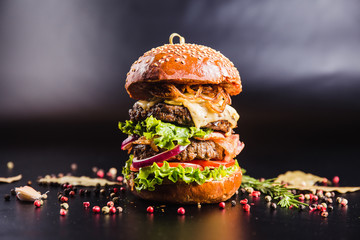 Juicy delicious burger with spices on a black background
