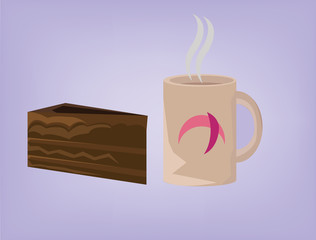 Pastry icons. Hot Coffee with Steam and Brownie Slice Vector Signs. Morning Beverage with Chocolate Dessert, Piece of Cake. Digital background vector illustration.
