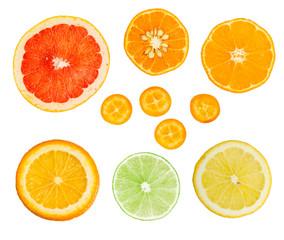 Set of fresh citrus slices isolated on white background.