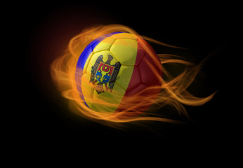 Soccer ball with the national flag of Moldova, making a flame.