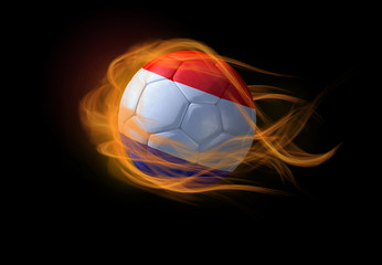 Soccer ball with the national flag of Netherlands, making a flame.