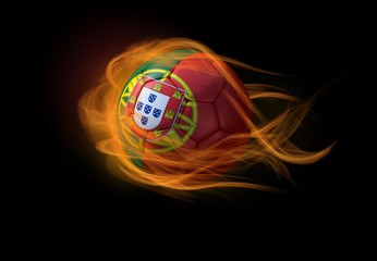 Soccer ball with the national flag of Portugal, making a flame.