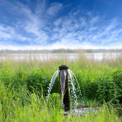 water source on meadow in steppe