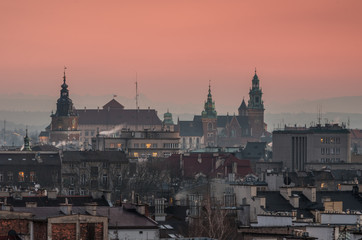 Royal castle and cathedral on the Wawel hill in Krakow, Poland in the evening
