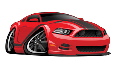 Hot modern American muscle car vector cartoon illustration. Red with black stripes, aggressive stance, low profile, big tires and rims.