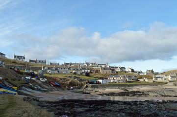 Former fishing village of Collieston on the Aberdeenshire coast,