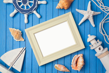 Summer holiday poster frame mock up template. View from above. Flat lay