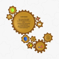 Infographic vector design with brown gears of different sizes and number of teeth with colorful human heads, graph, question mark, cover and description in the wheels background gears