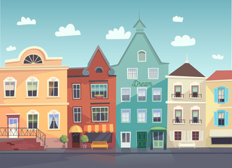 Sunny City street. Doors and windows boutiques, shops, background. Vector.