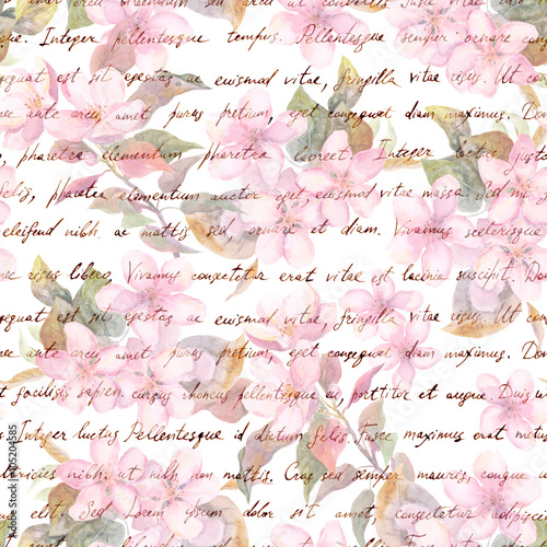 Vintage Cherry Apple Flowers With Retro Hand Written Letter Text Watercolor Repeating Pattern