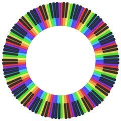 piano keyboard in rainbow colors