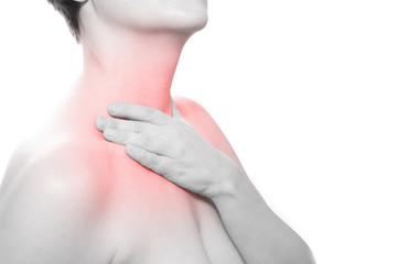 Hals Schmerzen - Schwarzweiß mit roter markierung