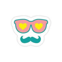 paper sticker on white background glasses mustache heart