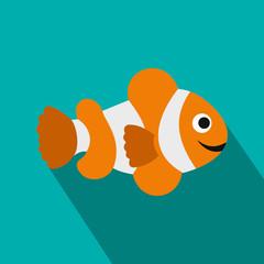 Clownfish flag icon, flat style