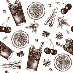 Vector pattern with vintage alcoholic cocktails sketch isolated on white. Ink hand drawn sangria and ingredients background for bar or restaurant menu