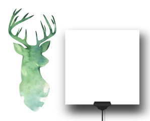 Close-up of one square blank frame with clip next to watercolour green deer silhouette background