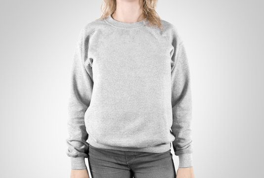 Blank sweatshirt mock up isolated. Female wear plain hoodie mockup. Plain hoody design presentation. Clear loose overall model. Pullover for print. Man clothes sweat shirt template sweater wearing