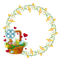 Round frame with Easter basket