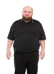 Bearded Fat Man in a Black Shirt