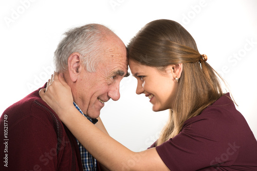 Old man dating younger woman