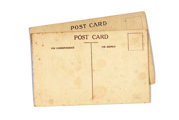 Two old post cards isolated on white
