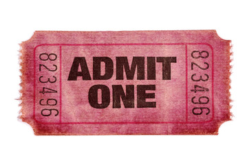 Old stained torn admit one ticket
