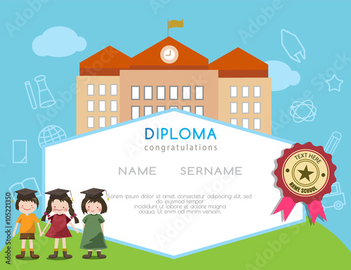 Kids diploma preschool certificate elementary school design template kids diploma preschool certificate elementary school design template background vector illustration yadclub Image collections