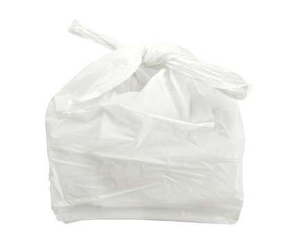 white plastic bag isolated on white background with clipping path