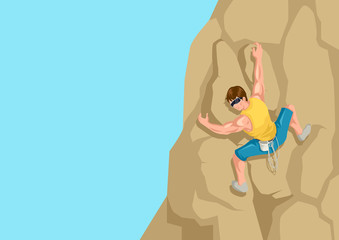 Cartoon illustration of a man climbing the rock