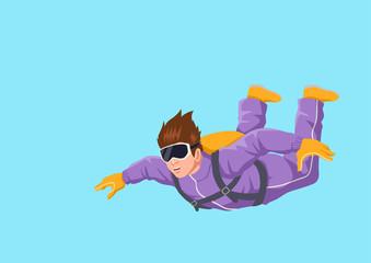 Cartoon illustration of a man sky diving