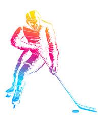 Pop art illustration of a hockey player