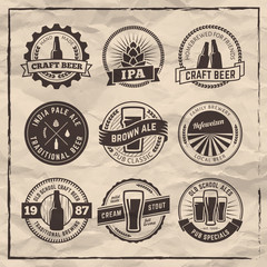 Set of vector craft beel labels. Beer logos on vintage paper background