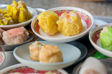 Dimsum as a snack or appetizer breakfast in south Thailand