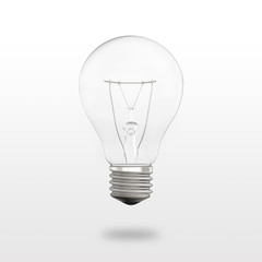 New clear bulb with small shadow isolated on white background