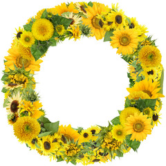 Round summer sunflowers frame