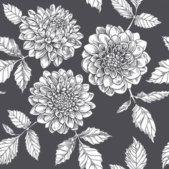Silhouette white dahlia. Seamless pattern.