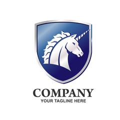 Unicorn shield Vector Logo