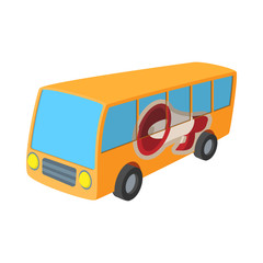 Yellow bus icon, cartoon, on white