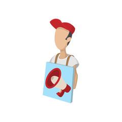 Sandwich board man icon, cartoon, on white