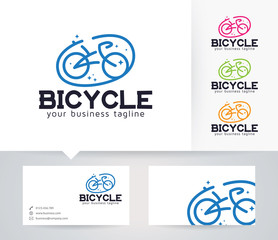 Bicycle Logo vector logo with alternative colors and business card template