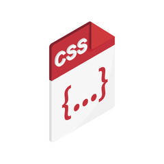 CSS file extension icon, isometric 3d style