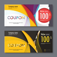 Gift coupon voucher template. vector illustration.