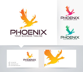 Fire Phoenix vector logo with alternative colors and business card template