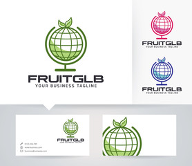 Fruit Globe vector logo with alternative colors and business card template