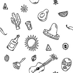 Hand drawn Seamless pattern vector set of mexican symbols