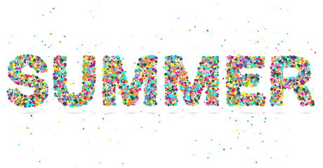 summer word consisting of colored particles